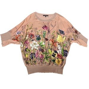 GUCCI Blush Pink Silk Floral Dolman Knit Blouse XL